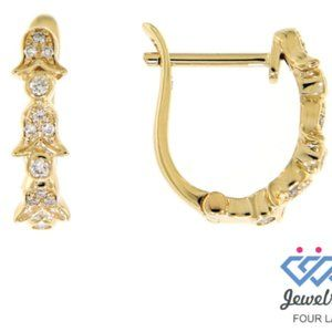 Solid Fancy Diamond Huggies Earrings Yellow Gold